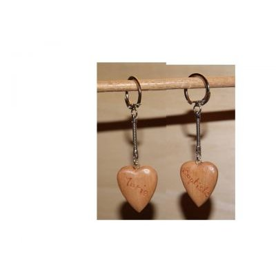 porte clef coeur gravé 2 faces, cadeau saint valentin, noces de bois