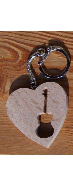 porte clef coeur et guitare, bois massif fait main cadeau original guitariste, musicien musique