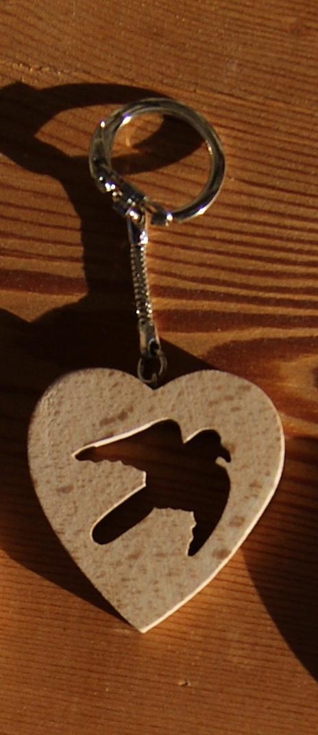 porte clef coeur et oiseau