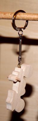 porte clef moto de cross, bois d'erable massif fait main