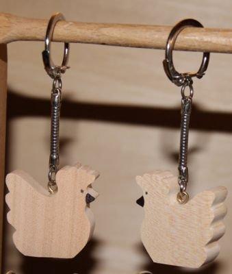 porte clef animaux en bois porte clef poule poulette. Black Bedroom Furniture Sets. Home Design Ideas