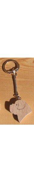 porte clef  tete de chien  Saint Bernard, golden retriever bois massif fait main