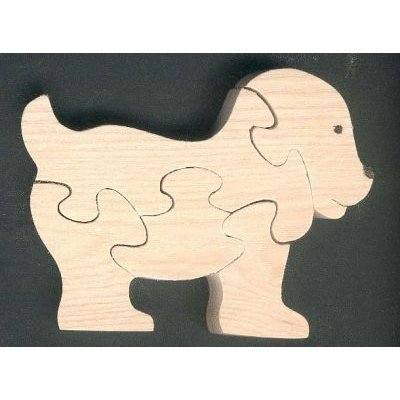 Puzzle en bois chien 5 pièces en hetre