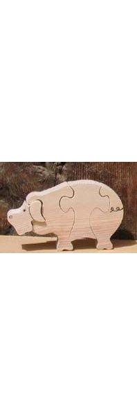 Puzzle en bois cochon 4 pièces Hetre fabrication artisanale