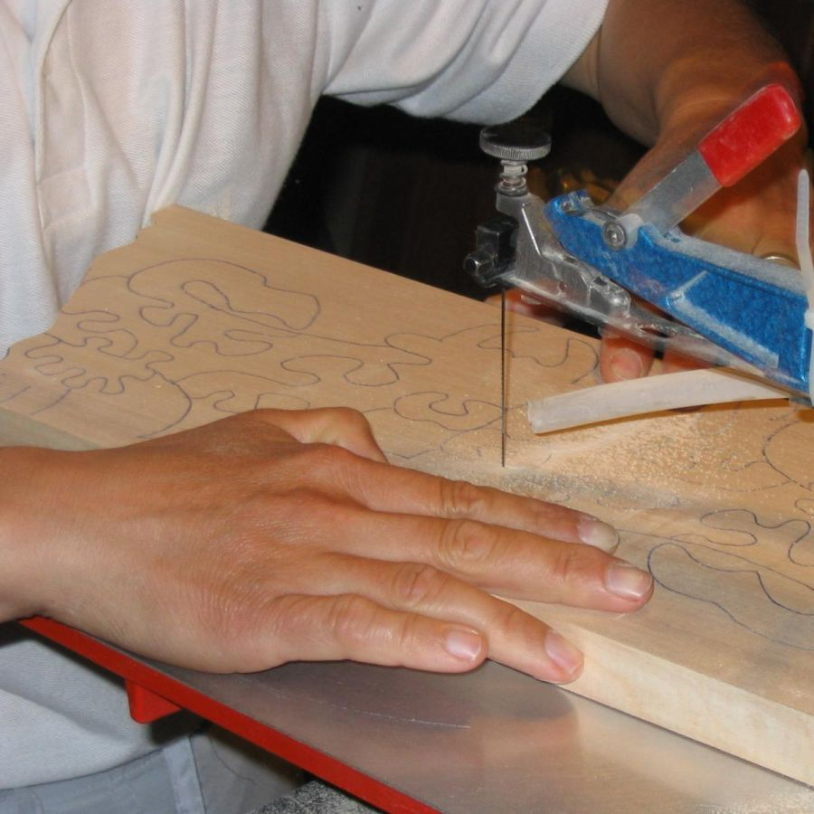 Puzzle bois massif 4 pièces chèvre Hetre fait main