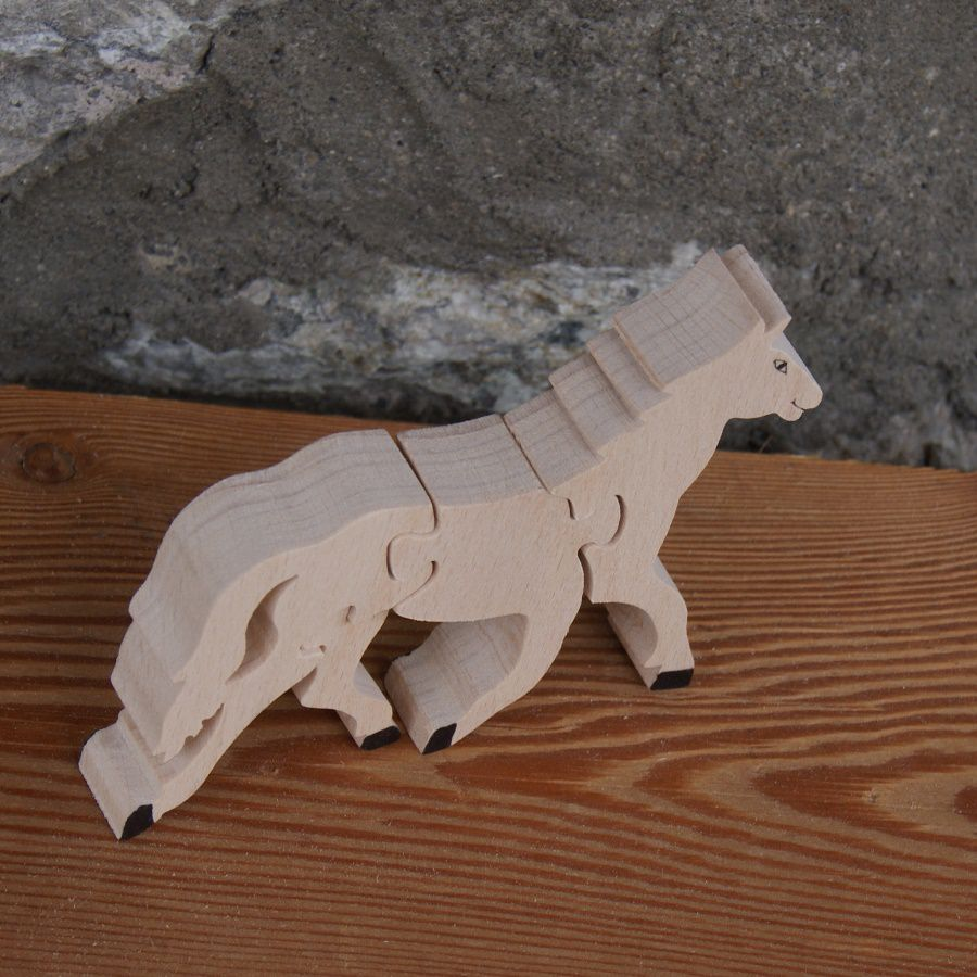 Puzzle  bois 4 pièces cheval  Hetre