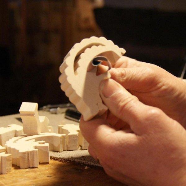 Puzzle bois 4 pièces cheval equitation Hetre massif fait main, animaux de la ferme