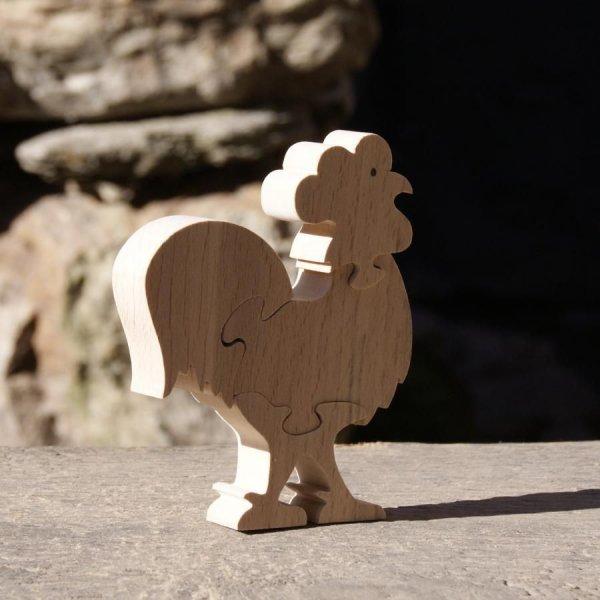 Puzzle  bois 4 pièces coq  Hetre massif, fait main, animaux de la ferme, basse cour