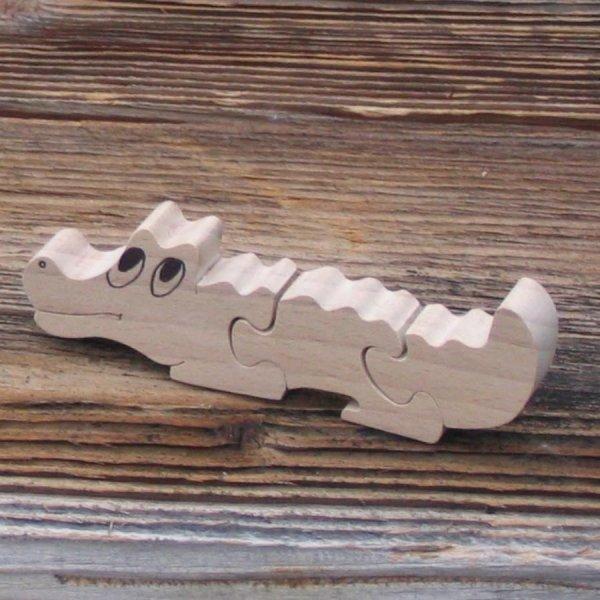 Puzzle bois 3 pièces crocodile  hetre massif, découpé a la main, animaux