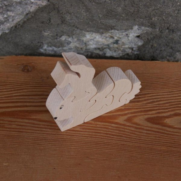 Puzzle bois massif 5 pièces lapin Hetre fabrication artisanale, animal de la ferme