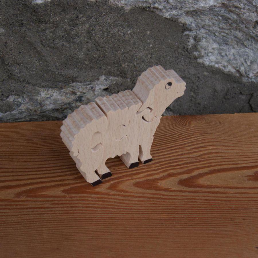 Puzzle  bois 4 pièces mouton ou agneau  Hetre massif, fait main