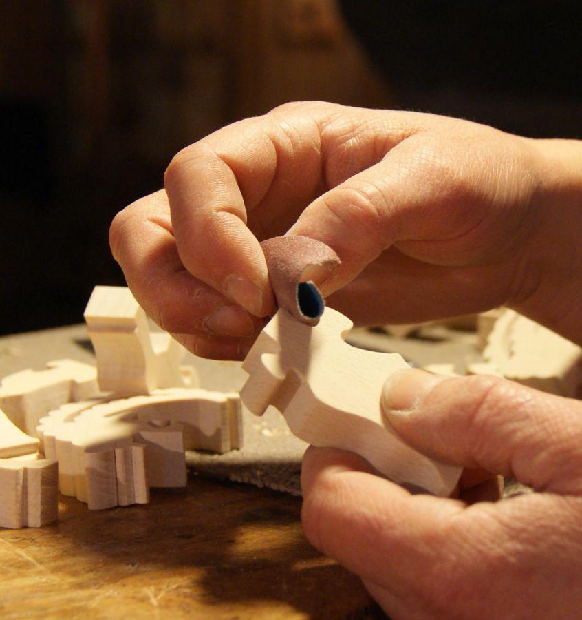 Puzzle  bois 4 pièces vache Hetre massif, fait main