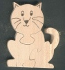 Puzzle bois 3 pièces chat, chaton Hetre