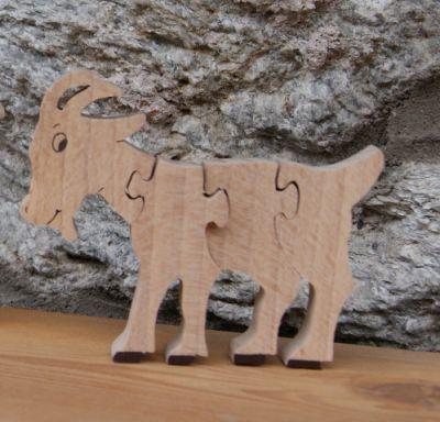 Puzzle  bois 4 pièces chèvre  Hetre