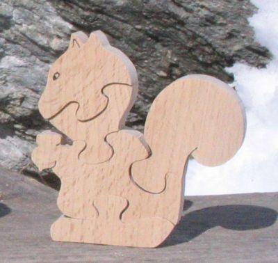 Puzzle  bois 5 pièces écureuil Hetre massif, fabrication artisanale