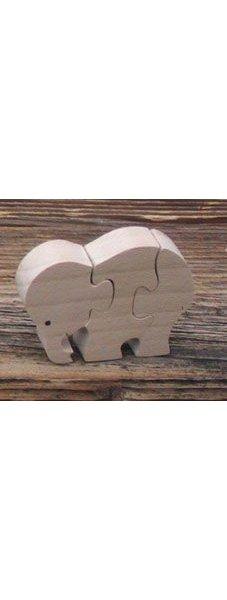 Puzzle bois 3 pièces éléphant Hetre massif, fait main
