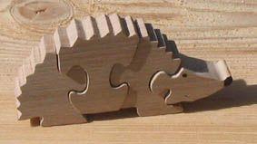 Puzzle bois 4 pièces herisson Hetre massif, fait main