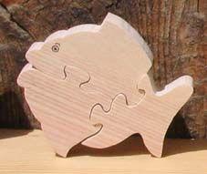Puzzle en bois poisson 3 pièces Hetre massif, fabrication artisanale