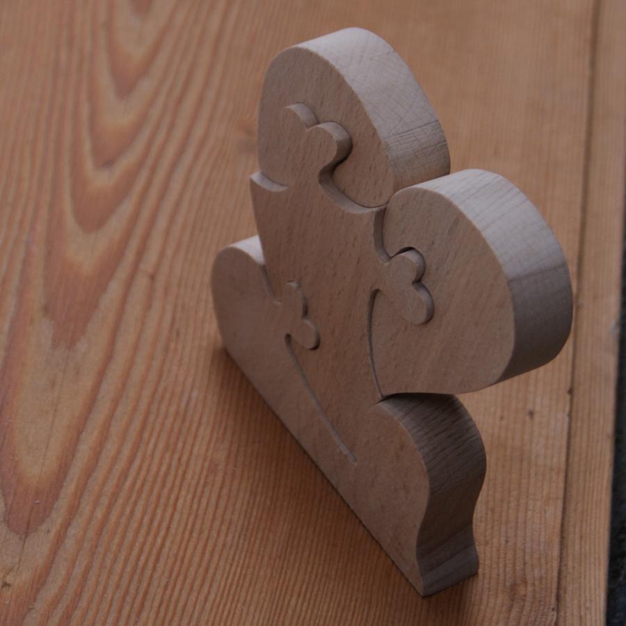 puzzle coeur 4 pieces en bois, cadeau noce de bois, saint valentin, fait main