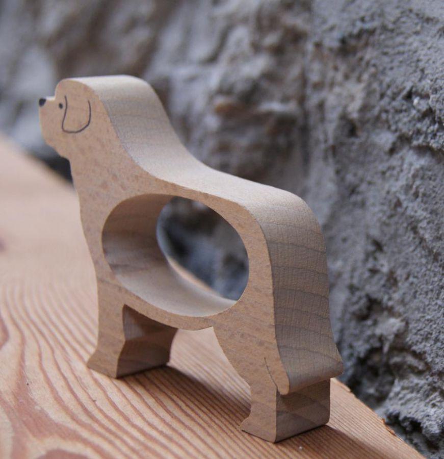 En bois rond de serviette chien st bernard saint bernard - Rond de serviette en bois a decorer ...