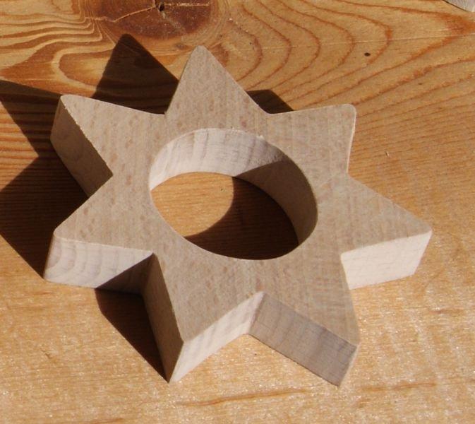 Rond de serviette etoile, deco table de Noel, bois massif fait main