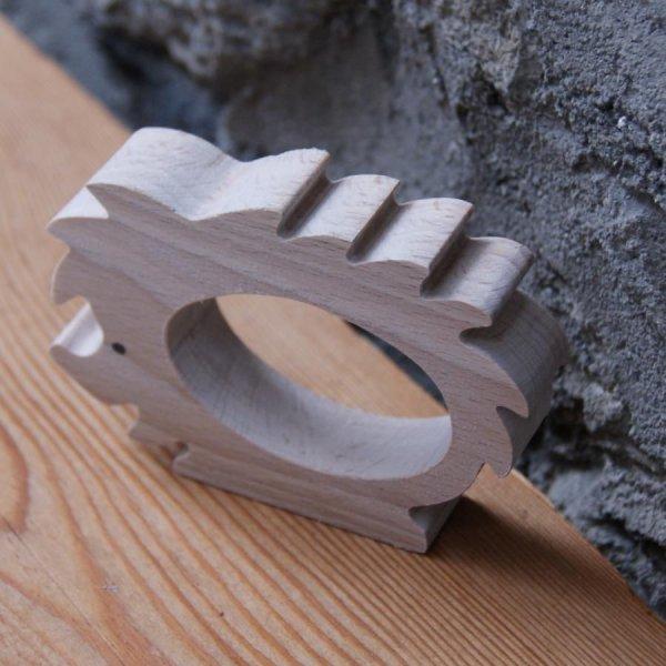 Rond de serviette Herisson a decorer bois massif fait main