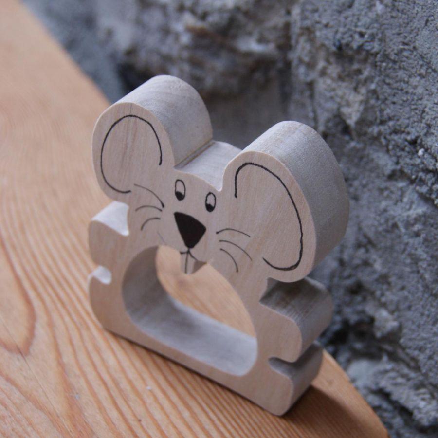 Rond de serviette souris, fabrication artisanale bois massif