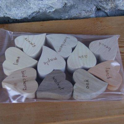 Sachet 10 coeurs bois massif d'essences différentes version anglaise fait main pyrogravé