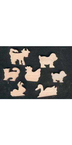 Sachet  7 figurines  en bois thème ferme