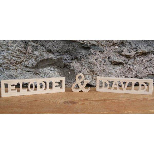 signe and, esperluette 5 cm en bois a poser