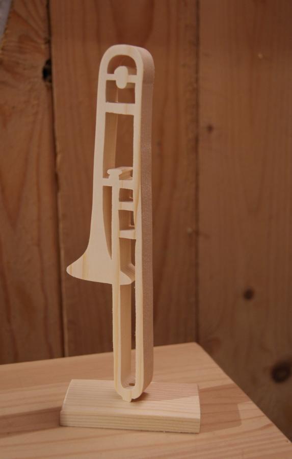 trombone en bois ht 20cm décoration musicale en bois, cadeau tromboniste, fait main