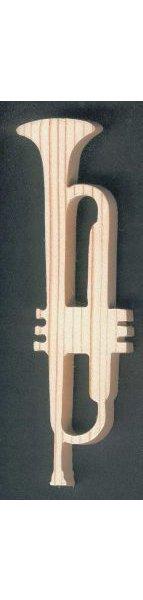 Trompette en bois  d'epicea massif lg15cm décoration musicale fait main