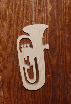 tuba en bois massif ht 20 cm decoration theme musique fait main