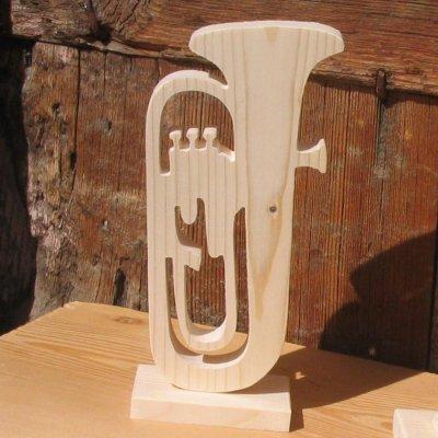 tuba monté sur socle en bois massif decoration mariage theme musique fait main