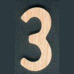 Chiffre 3 en bois de frene hauteur  5 cm