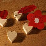 Marque place coeur en bois d'épicéa massif, réutilisable, à décorer, par 10