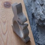 Rond de serviette lapin personnalisable bois massif fait main