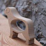 Rond de serviette chien St Bernard, saint bernard bois massif fait main