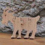 Puzzle bois massif 4 pièces chèvre Hetre fait main, animaux de la ferme