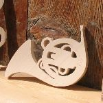 cor d'harmonie en bois massif ht 15 cm fait main cadeau corniste, decoration mariage musique