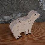 Puzzle  bois 4 pièces mouton ou agneau  Hetre massif fait main, animaux de la ferme