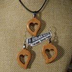 Parure coeur bois de hetre, boucles d'oreilles et pendentif, cadeau noce de bois, saint valentin, fait main