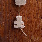 perle en bois ourson fait main pour la fabrication de mobile et suspension, percage vertical hetre massif