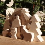 Creche de Noel puzzle a peindre en bois d'erable massif, 10 pieces fait main