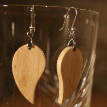 boucles d'oreilles feuille ronde en charme bijoux éthique en bois, bijou nature ciré, fait main