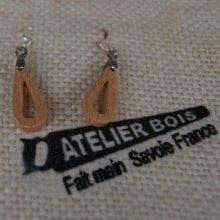 boucles d'oreilles goutelettes en bois de hetre massif bijoux éthique en bois, bijou nature ciré, fait main