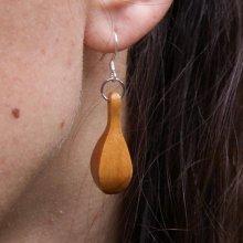 boucle d'oreille goutte d'eau bijoux étiques bois merisier ciré, bijou nature, fait main