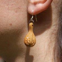 boucle d'oreille goutte d'eau sculptée bijoux  nature bois