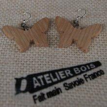 boucle d'oreille papillon en bois de frêne bijoux éthique en bois, bijou nature ciré, fait main
