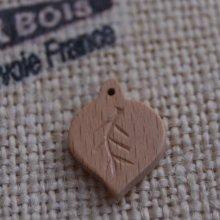 Breloque feuille ronde nervurée bois fait main